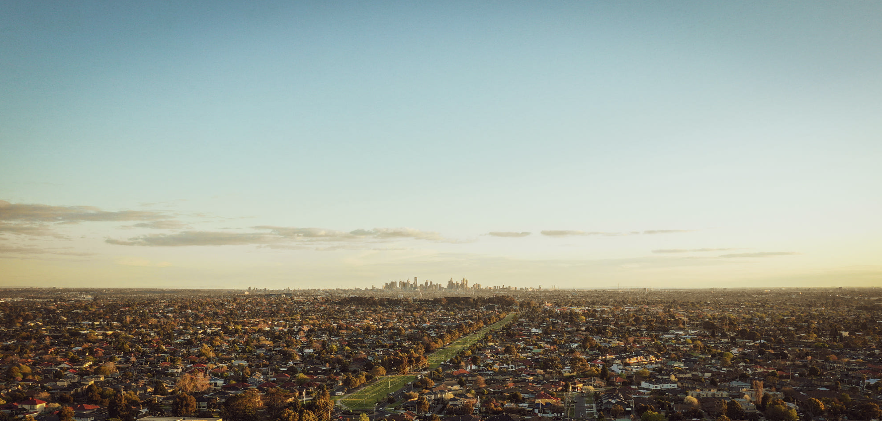 Melbourne CBD - Drone eye view from south eastern suburbs
